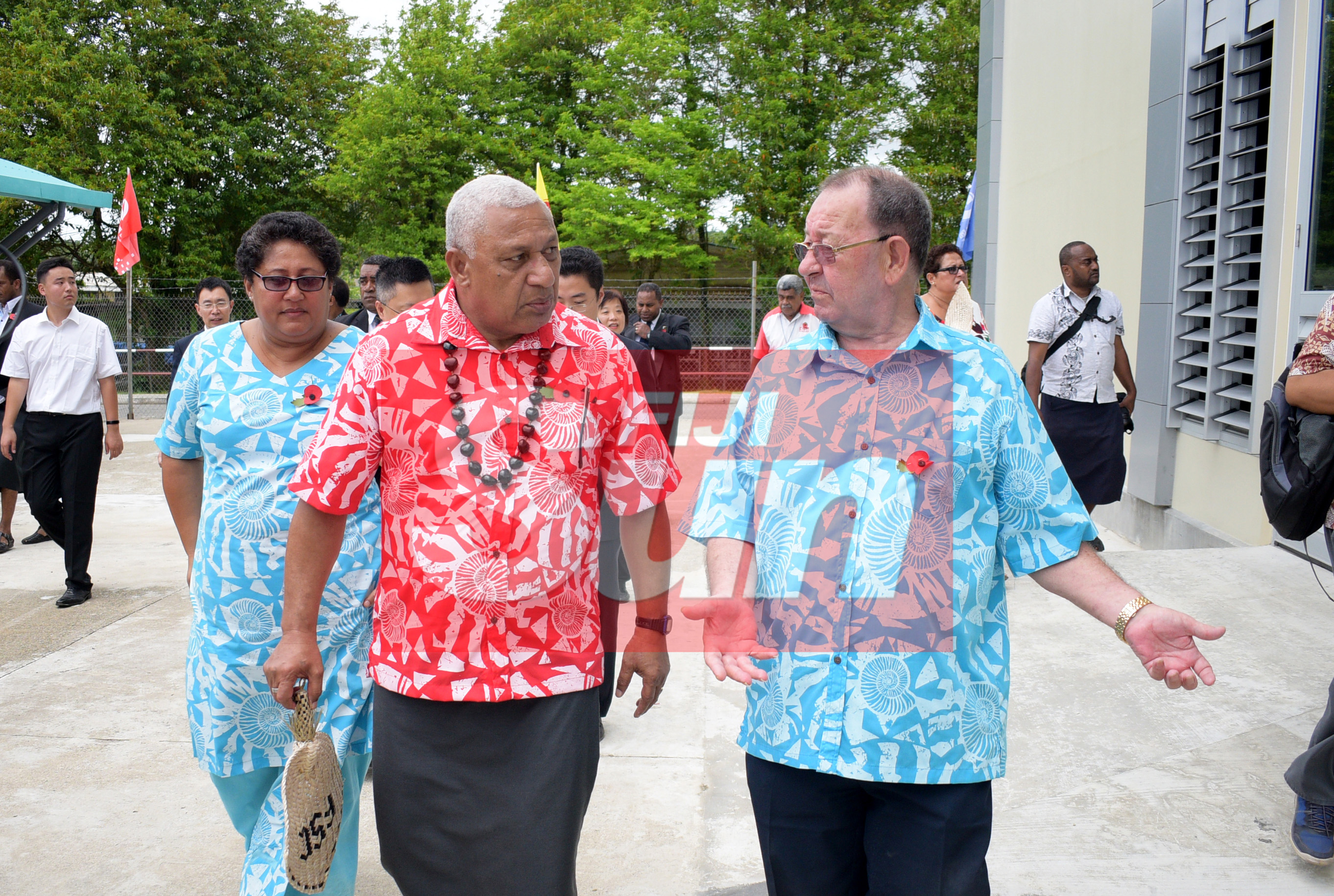 Prime Minister Voreqe Bainimarama take a tour of renovated Vodafone Arena with Fiji Sports Council Chief Executive Officer, Litiana Loabuka (left) and Board Chairman Peter Mazey following the opening on November 8, 2019. Photo: Ronald Kumar.