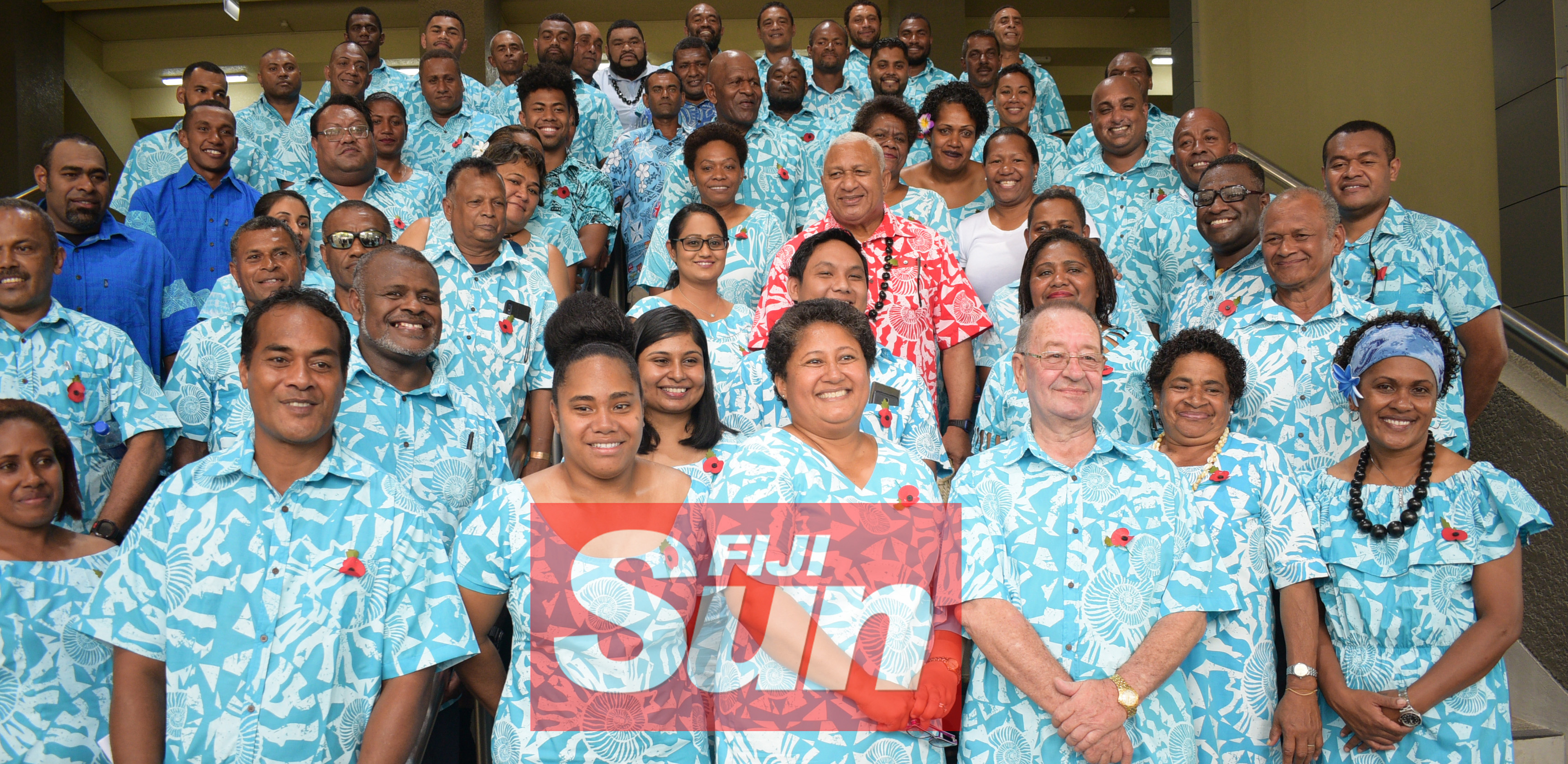 Prime Minister Voreqe Bainimarama with Fiji Sports Council Chief Executive Officer, Litiana Loabuka, Board Chairman Peter Mazey and staff during the the opening of the renovated Vodafone Arena on November 8, 2019. Photo: Ronald Kumar.
