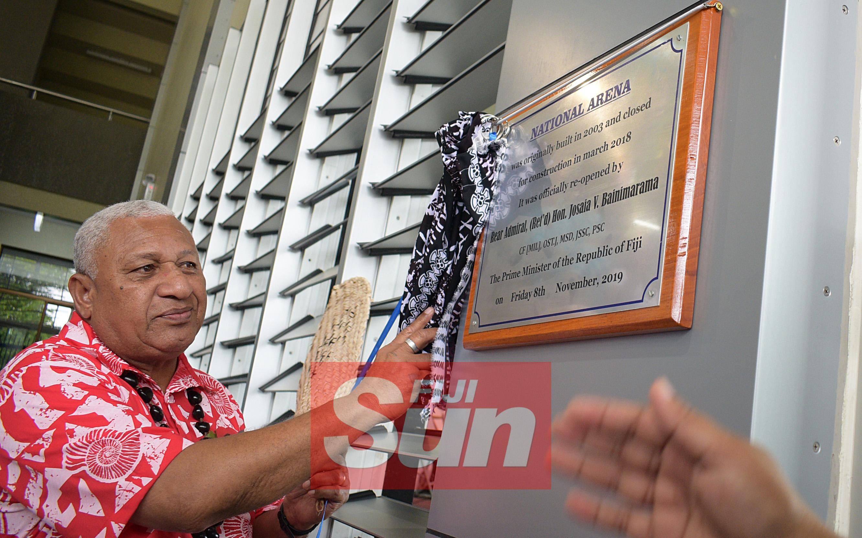 Prime Minister Voreqe Bainimarama while opening of the renovated Vodafone Arena on November 8, 2019. Photo: Ronald Kumar.