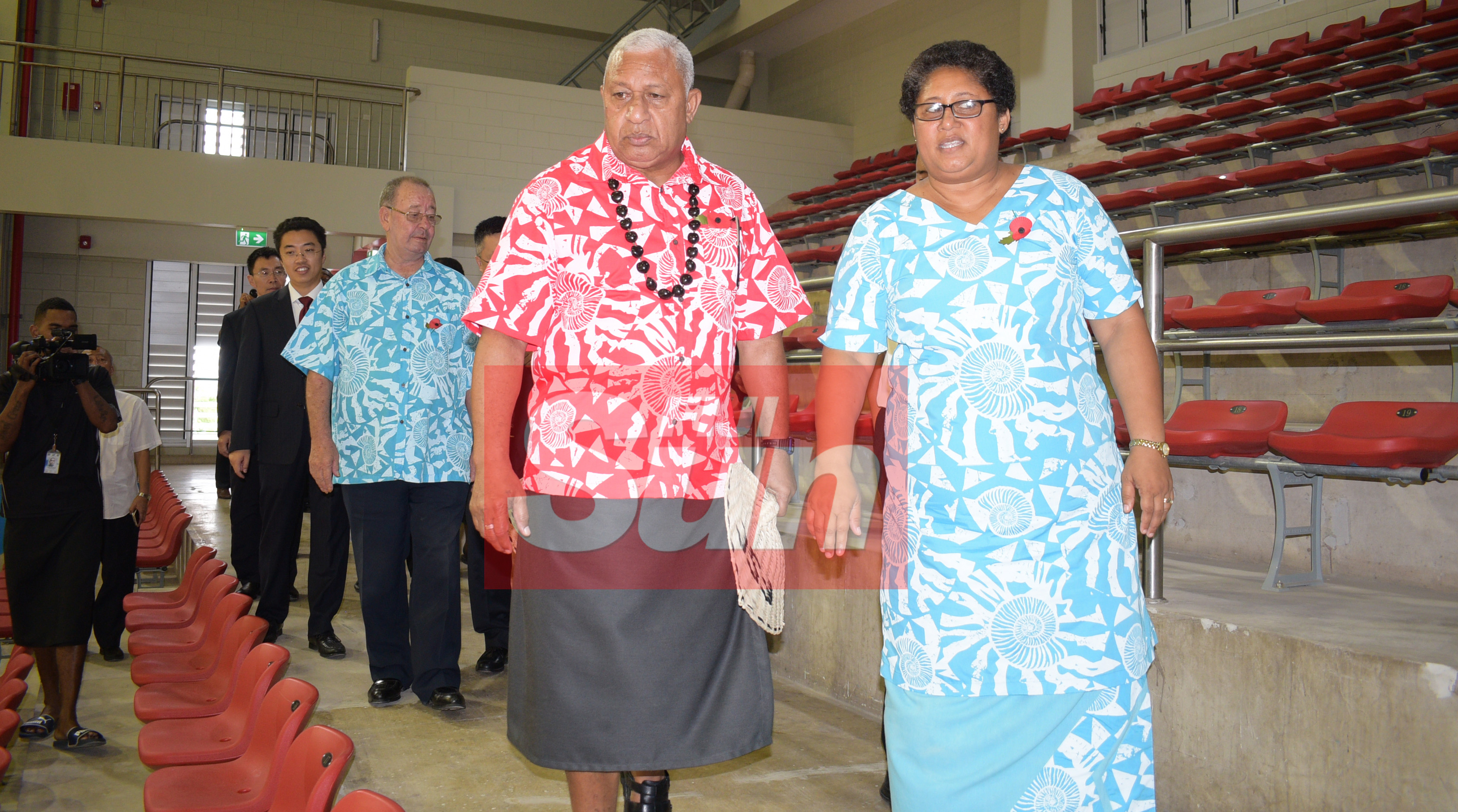 Prime Minister Voreqe Bainimarama with Fiji Sports Council Chief Executive Officer, Litiana Loabuka (right) followed by Board Chairman Peter Mazey during the opening of the renovated Vodafone Arena on November 8, 2019. Photo: Ronald Kumar.