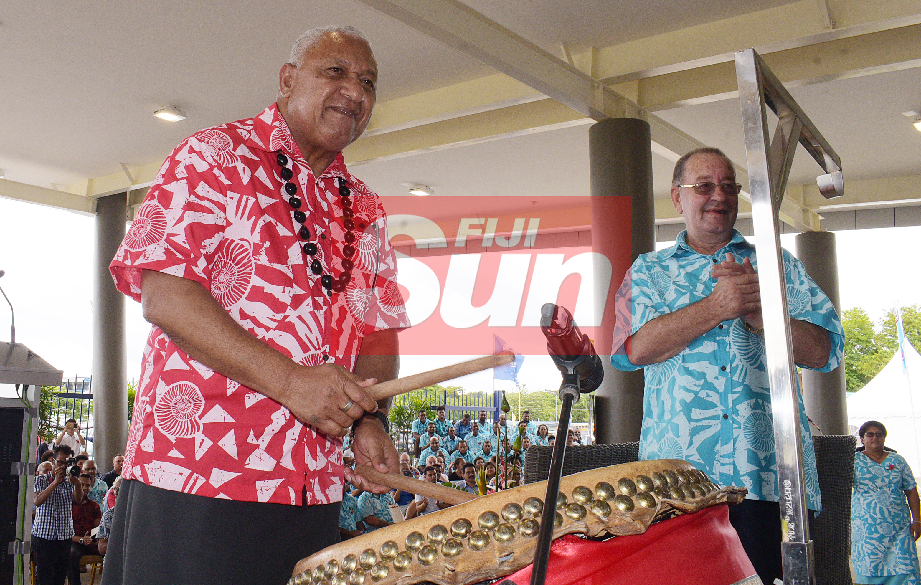 Prime Minister Voreqe Bainimarama and (right) Fiji Sports Council Board Chairman Peter Mazey while opening the renovated Vodafone Arena on November 8, 2019. Photo: Ronald Kumar.