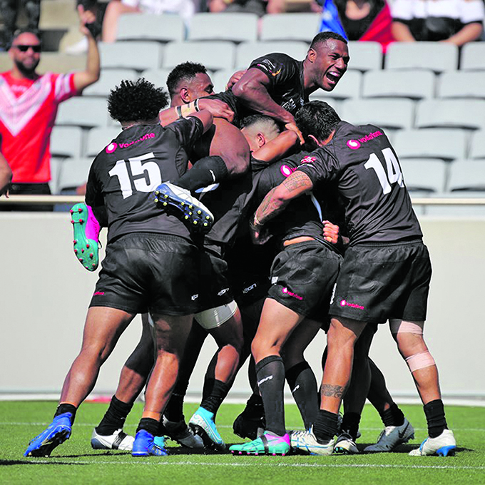 Vodafone Fijian Bati players celebrate a try against Toa Samoa in the Oceania Cup at Eden Park in Auckland, New Zealand on November 2, 2019.  Photo: Nrl.com