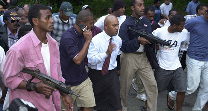 George Speight leading the May 2000 coup and armed hostage taking in Suva. Photo: Fairfax NZ