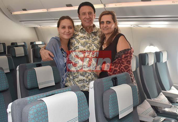 Fiji Airways Managing Director/CEO Andre Viljeon, with family Ivana and Sandra Viljoen on the New Airbus. Photo: WAISEA NASOKIA