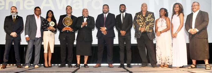 Prime Minister Voreqe Bainimarama (fifth from left), with the main award recipients, Fiji Airports, at the Sheraton Fiji Resort, Denarau, Nadi, on November 16, 2019, during the Prime Minister's International Business Awards 2019. Photo: Waisea Nasokia