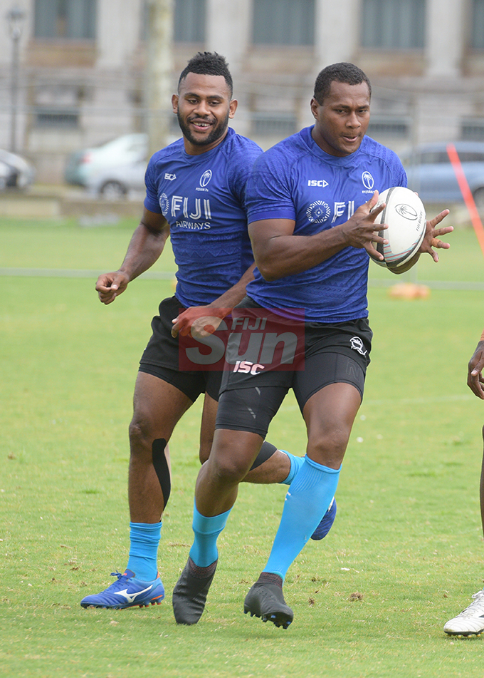 Fiji 7's extended squad members PaulaDraunisinukula and Vilimoni Botitu during team training at Albert Park on November 1, 2019. Photo: Ronald Kumar.