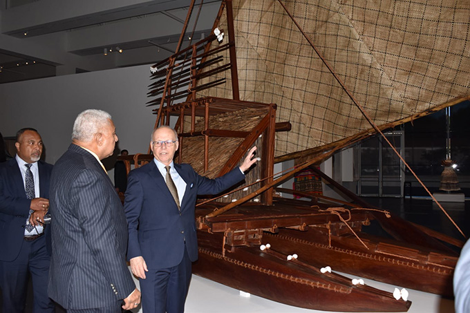 Prime Minister Voreqe Bainimarama takes a tour of the Fiji Exhibition at the Los Angeles County Museum of Art. Photo: Office of the Prime Minister