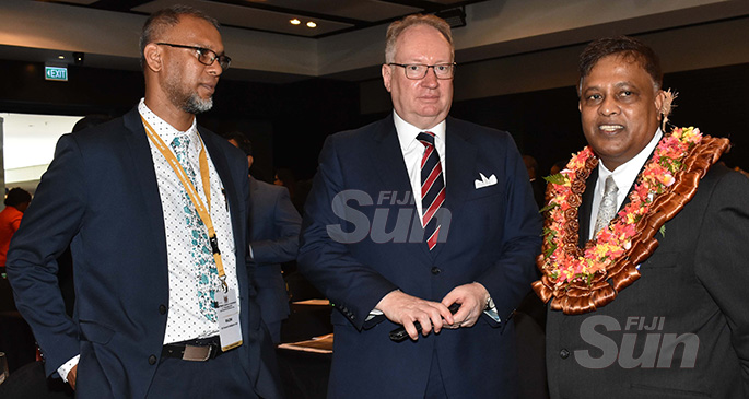 From left: Director of Fiji's Financial Intelligence Unit Razim Buksh, Director of Public Prosecutions Christopher Pryde and Acting Chief Justice Kamal Kumar at the 21st Attorney-General's Conference at the InterContinental Fiji Golf Resort and Spa in Natadola Bay on December 6, 2019. Photo: Waisea Nasokia