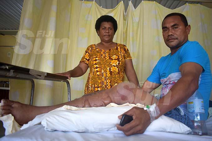 Rupeni Siganisucu with wife Laite Vurabere at the Lautoka Hospital on November 28, 2019.