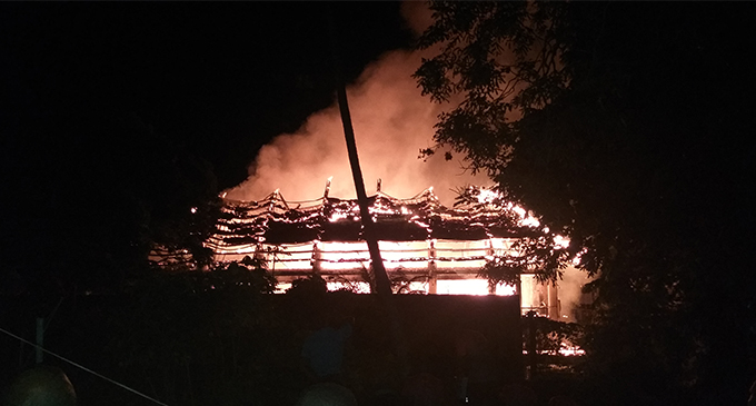 Engulfed ...the fire at the Fijian Trust Fund In Nasova. Photo: Naisa Koroi