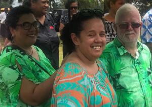 Fiji Sun publisher/chief executive officer Peter Lomas and his daughters Talei and Adi Losalini. Photo: Nemani Delaibatiki