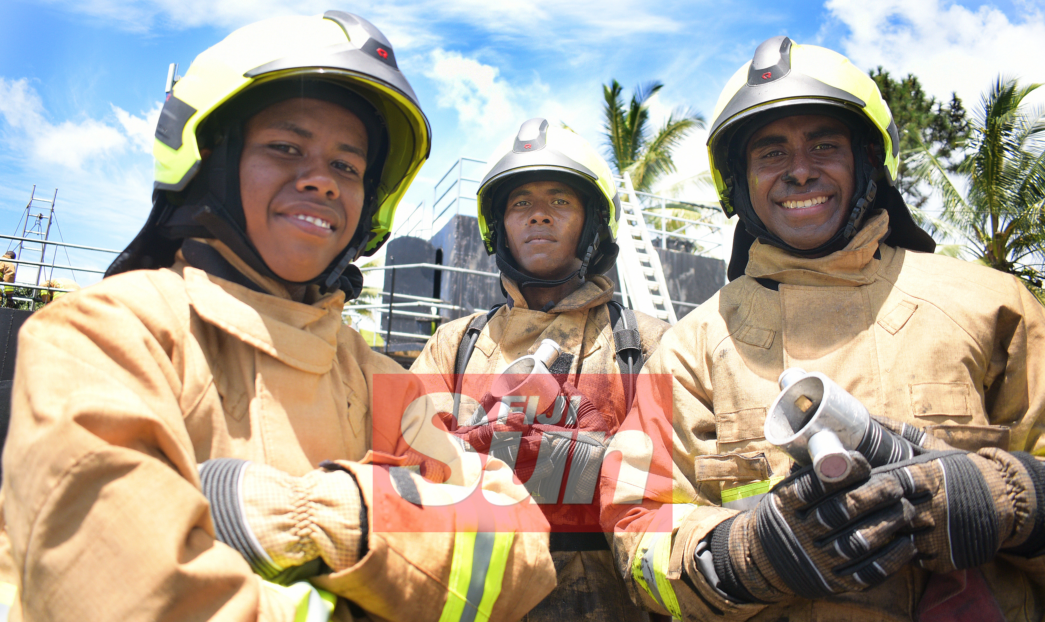 National Fire Authority pass out parade highest aggregate winner,Neli Vugakoto (from left), Best all rounder winner, Akuila Ciqa and Best Student in Drill, Vereti Naruku at Navy Training base in Togalevu Veisari, Lami on December 11, 2019. Photo: Ronald Kumar.