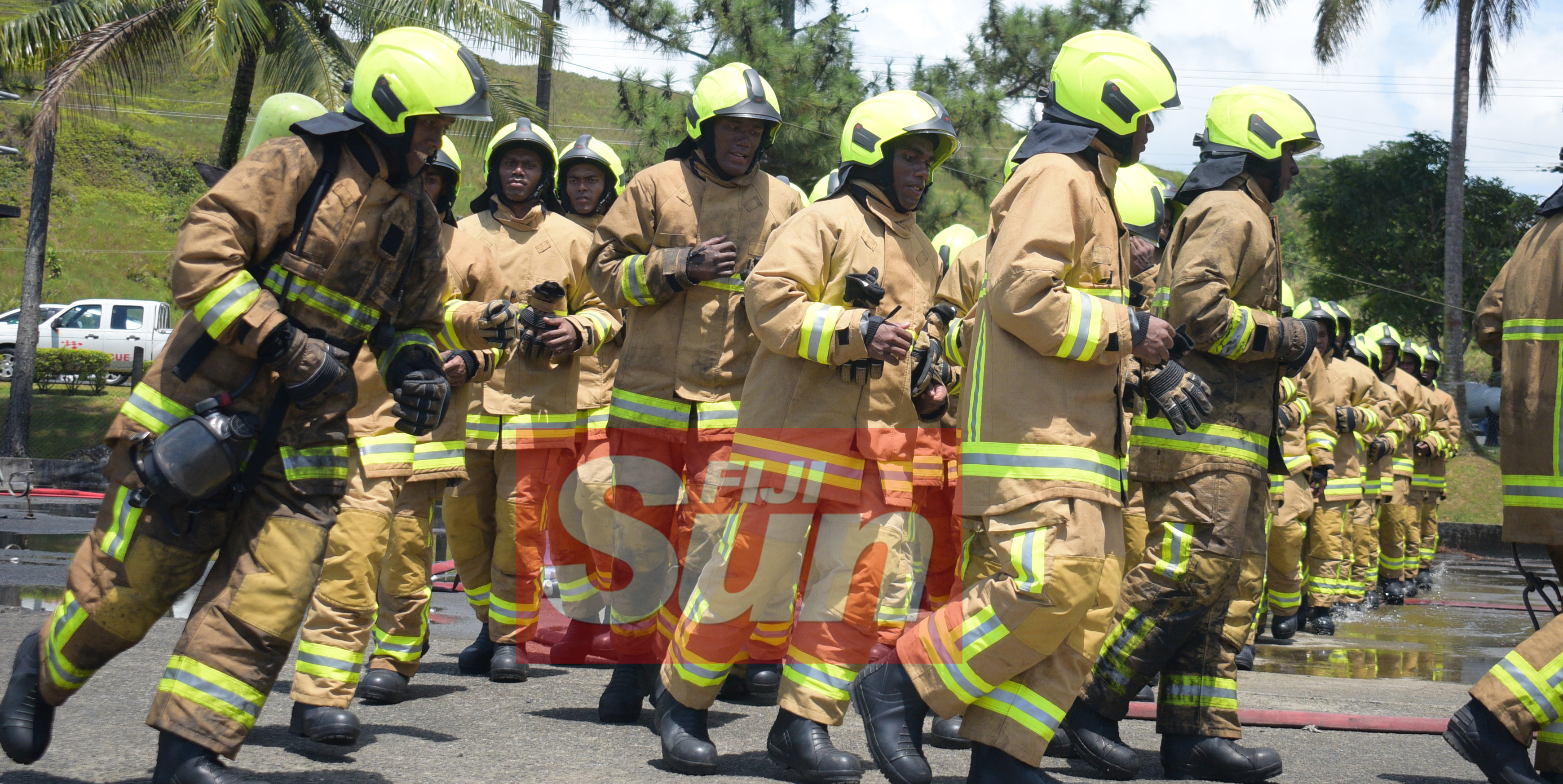 New National Fire Authority recruits display their skills during their pass out parade at Navy Training base in  Togalevu Veisari, Lami on December 11, 2019. Photo: Ronald Kumar.