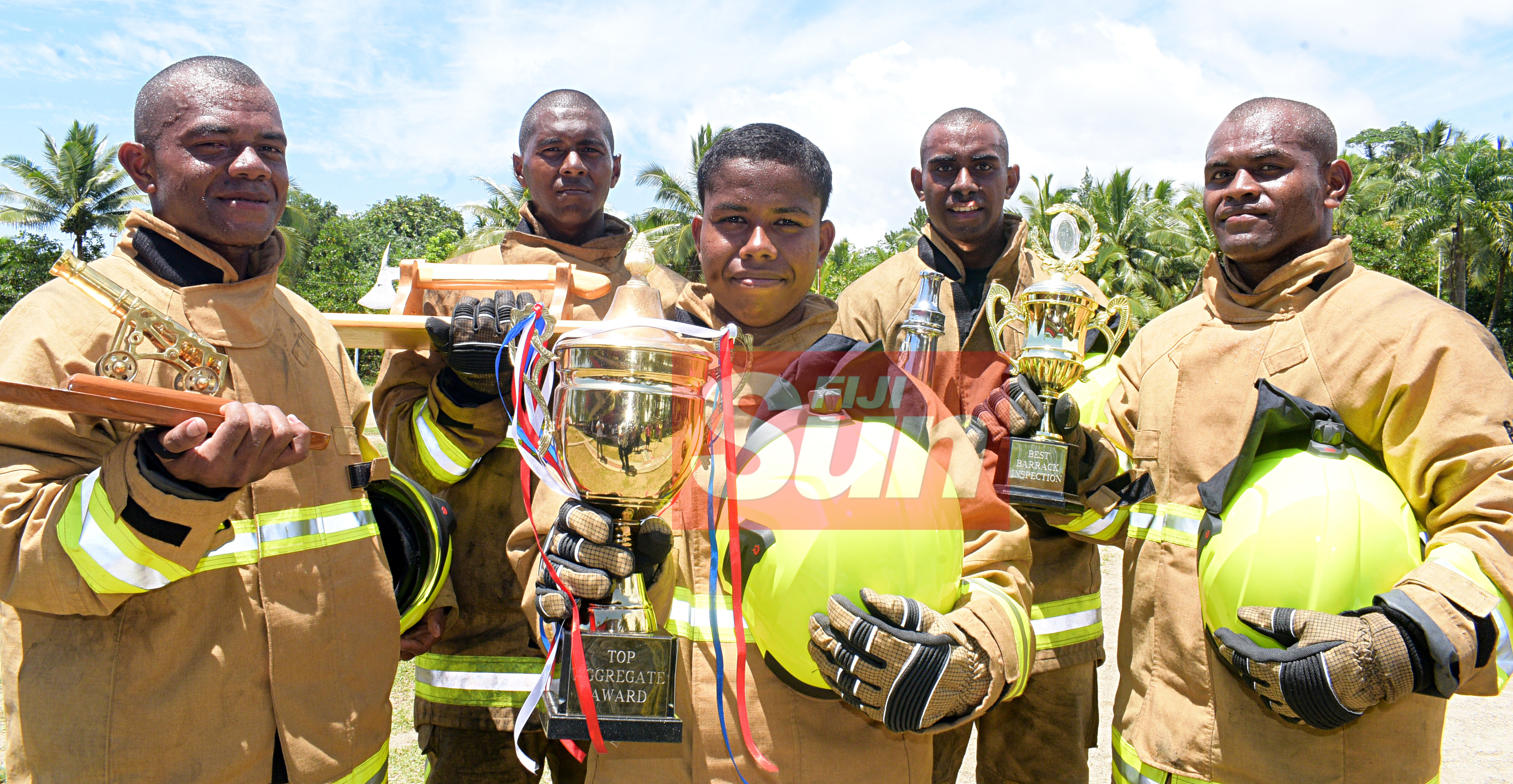 National Fire Authority pass out parade, (from left) Joeli Lesivanawa with most outstanding division on parade award,  Akuila Ciqa with best all rounder award, Neli Vugakoto with highest aggregate award,  Best Student in Drill, Vereti Naruku with best Student in drill and Eremodo Ratu with best barrack inspection award at at Navy Training base in Togalevu Veisari, Lami on December 11, 2019. Photo: Ronald Kumar.