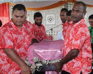 The pallbearers carrying the casket of the late Venina Ratulele Lomas on December 5, 2019.