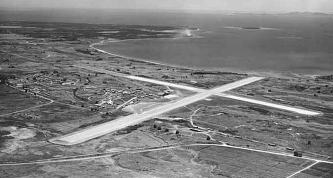 As it once was ... An aerial view of the old Nadi International Airport with the terminal on the other side of the runway to where today's modern terminal is.