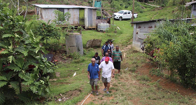 Prime Minister Voreqe Bainimarama visits the home of Vunivivi residents who took shelter at Nausori Primary School due to possible landslide in the area. Photo: Ilaijia Ravuwai