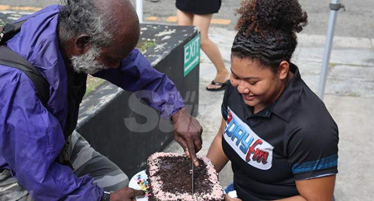 Homeless Man Cuts First Birthday Cake