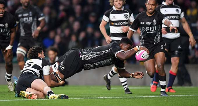 Fiji Airways Flying Fijians rep Temo Mayavanua scores a try during the 33-31 win against the Barbarians in Twickenham, London last month. Photo: Skysports
