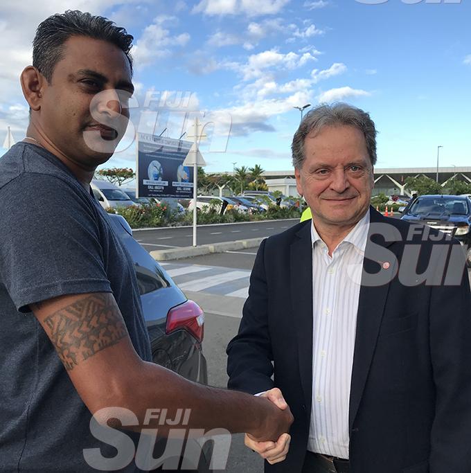 Fiji Football Association technical director Ravinesh Kumar (left) welcomes coach Flemming Serritslev at the Nadi International Airport on January 26, 2020. Photo: Waisea Nasokia