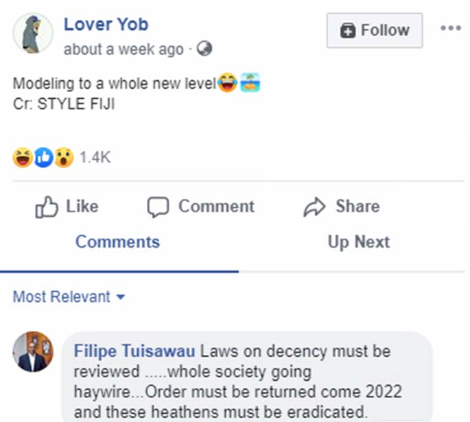 A screenshot comment posted by the president of the SODELPA Ro Filipe Tuisawau.