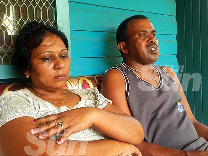 The mother of the deceased, Anjina Devi and her husband, Babu Suresh Sharma at their family home in Velovelo, Lautoka. Photo: Nicolette Chambers