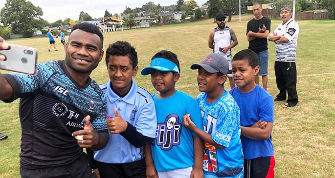 Fiji Airways Fijian 7s co-captain Jerry Tuwai takes a selfie with young fans after their training run at Fraser Tech Rugby Club ground in Hamilton, New Zealand on January 22, 2020. Photos: Asenaca Delaibatiki