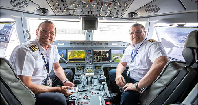 The ferry flight pilots of the New Air Kiribati Embraer E190-E2 aircratf after arriving at Toowoomba Wellcamp Airport, Queensland, Australia. Photo: Garry Wilkinson Photography