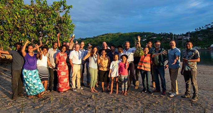 Nawi Island directors, consultants, management and staff members during their mangrove replanting campaign.