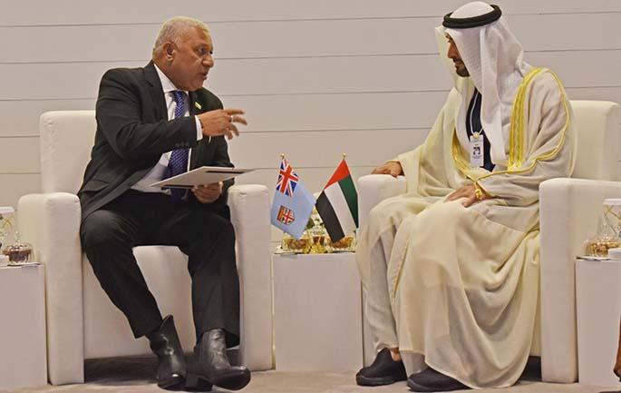 Prime Minister Voreqe Bainimarama with the Crown Prince of Abu Dhabi and Deputy Supreme Commander of the UAE, Sheik Mohammed bin Zayed Al Nahyan (left) in Abu Dhabi in the United Arab Emirates