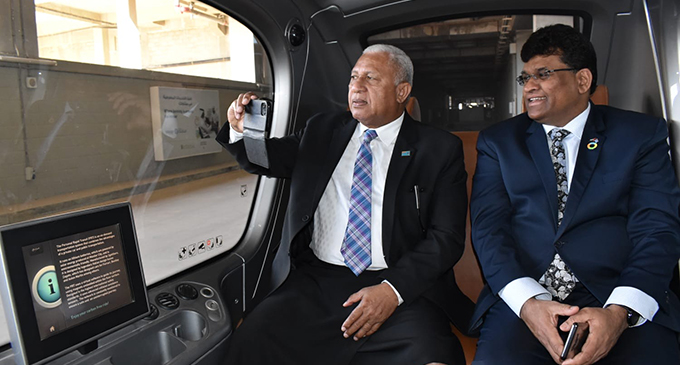 Prime Minister Voreqe Bainimarama and Fijian Ambassador to UAE Kamlesh Prasad while visiting the Louvre Abu Dhabi museum and Masdar City.  Photo: Office of the Prime Minister