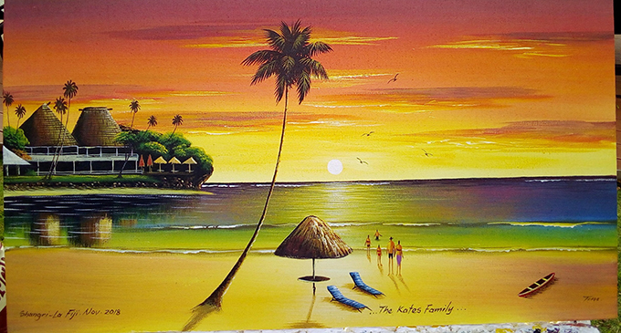 A picturesque scene painted by Timoci Sokiwasa. Photo: Charles Chambers