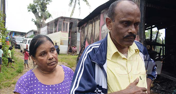 Amal and Shashi Deo after their home was damaged in fire at Caubati in Nasinu on January 1, 2020. Photo: Ronald Kumar.