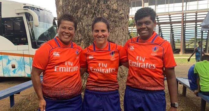 Kuini Vuli (left) with her fellow referees during the 2019 Oceania Women's Rugby Qualifier.