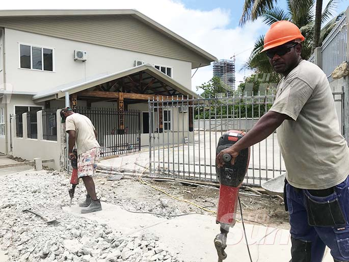 Work preparing Writers Lodge at Selbourne Street, Suva. Photo: Frederica Elbourne