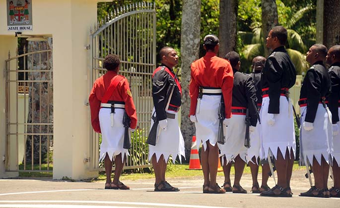 The Republic of Fiji Military Forces (RFMF) handed over the Ceremonial Guards role to the Fiji Police Force (FPF) at State House on Saturday, 25 January 2020.