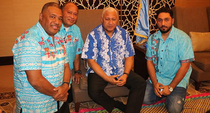 From left: Kelepi Abariga, Joji Luita, Prime Minister Voreqe Bainimarama and PACSA chairman Ahmed of Al Ain.  Photo: Office of the Prime Minister