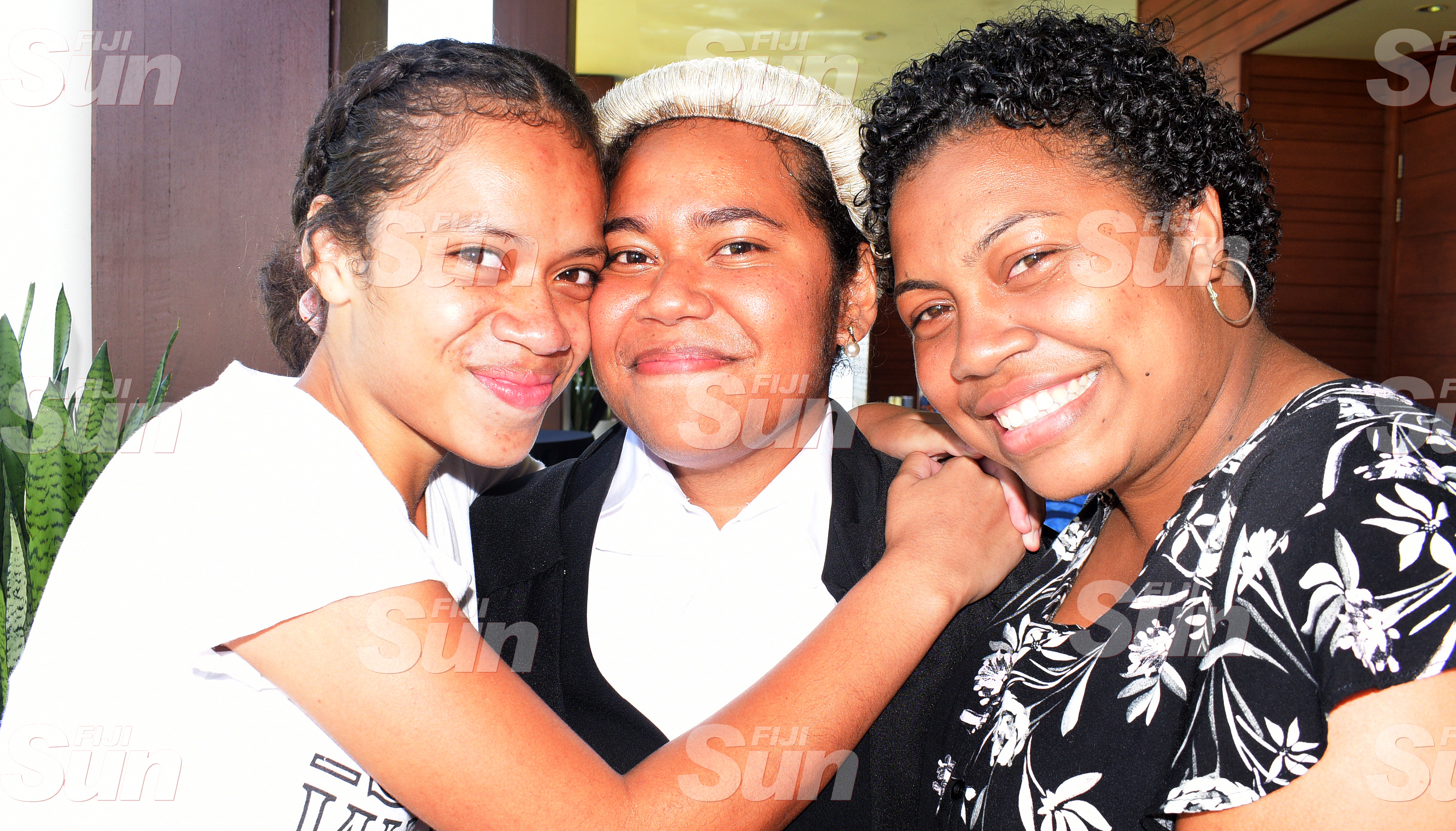 Akosita Nayacalevu (middle) with relatives Latileta Nayacalevu and Lavenia Raisele following her admission to the Bar on January 31, 2020. Photo: Ronald Kumar.