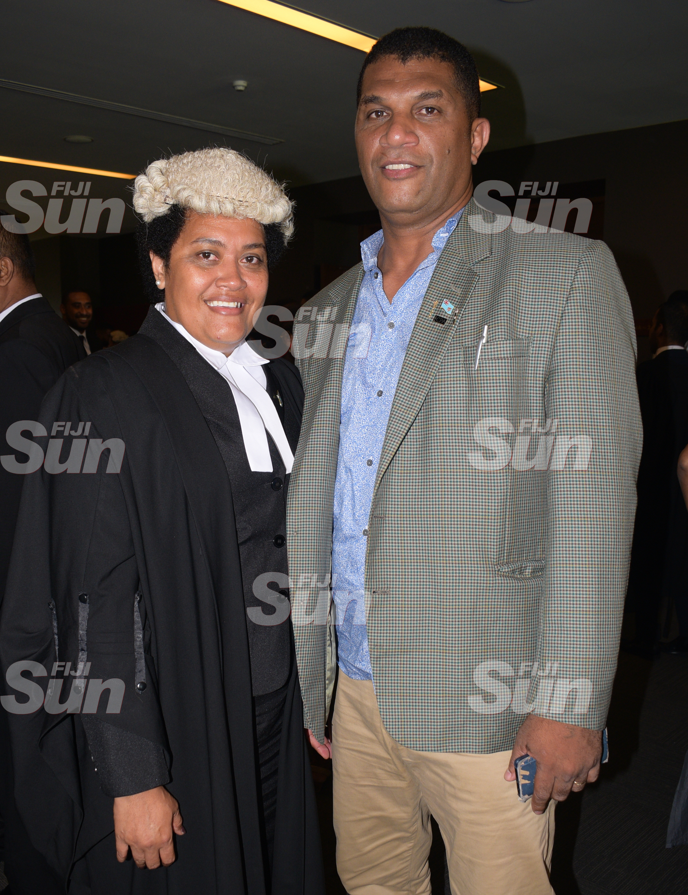 Saniana Radrodro with husband Aseri Radrodro after admission to Bar by acting Chief Justice Kamal Kumar on January 31, 2020. Photo: Ronald Kumar.
