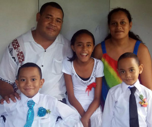 Happier days...The late Makrava Sakaiasi, wife Patricia and their children.