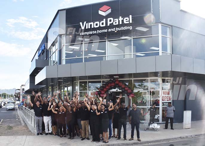 Staff of Vinod Patel at the soft opening of their new hardware store in Namaka, Nadi, on January 11, 2020. Photo: Waisea Nasokia