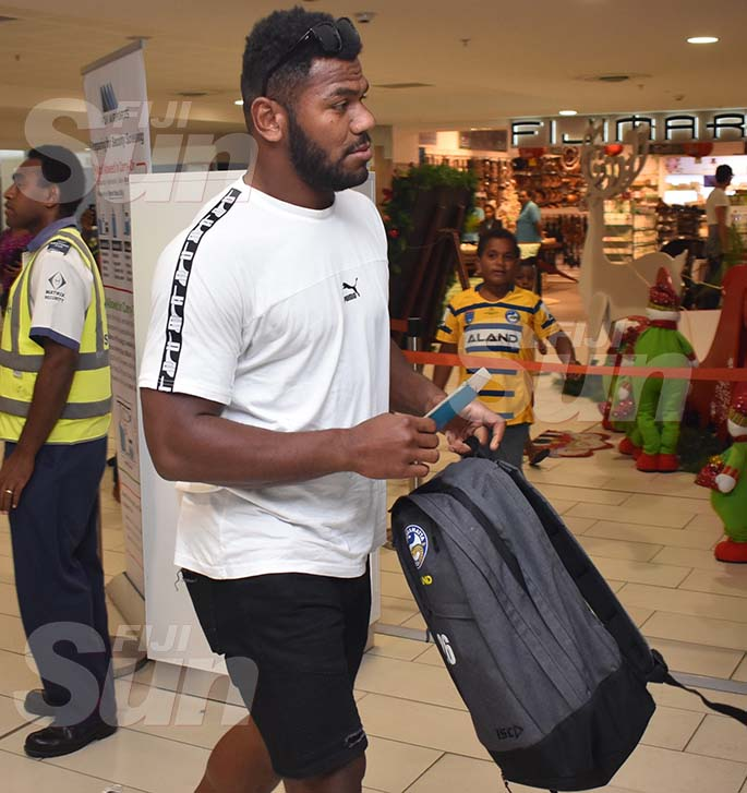 HEADING FOR SYDNEY: Fijian Bati and Parramatta Eels winger Maika Sivo at the Nadi International Airport on January 3, 2020. Photo: Waisea Nasokia