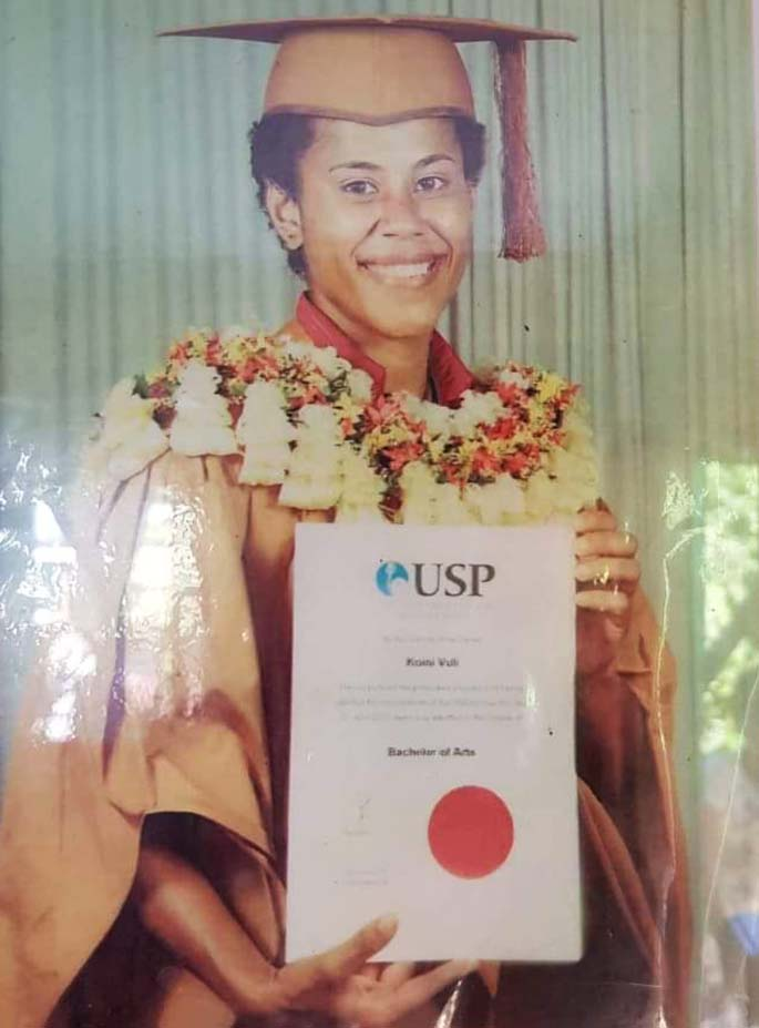 Kuni Vuli after graduating from the University of the South Pacific in 2007