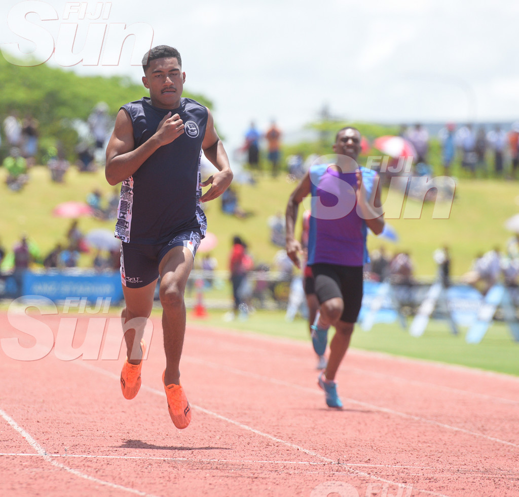 Jordan Gucake of Suva Christian during Suva Zone 1 200meters senior boys heats at ANZ Stadium on February 2020. Photo: Ronald Kumar.