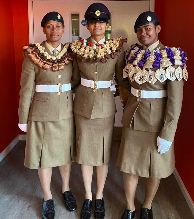 Susana Todua, Elena Stanley Balawakula and Mereani Saqanavere on the day of their intake on February 7, 2020 at the British Army Training Centre Pirbrigh.