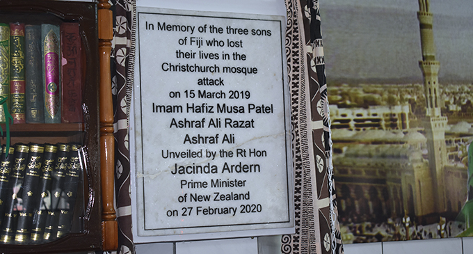 New Zealand Prime Minister Jacinda Ardern unveiled a plaque (pictured) at the Lautoka Jame Masjid on February 27, 2020, which commemorated the Fijians who were killed in the Christchurch shootings on March 15, 2019. Photo: Salote Qalubau