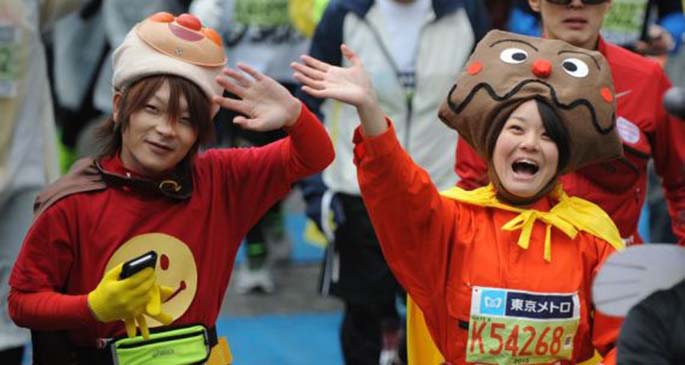 Runners competed in the Tokyo Marathon on Feb. 22, 2015 when about 36,000 people participated in this annual sports event. (Xinhua/Stringer)