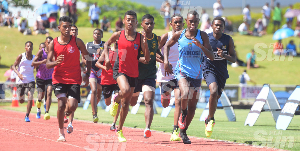 Suva Zone 800meters senior boys final action at ANZ Stadium on February 28, 2020. Photo: Ronald Kumar.