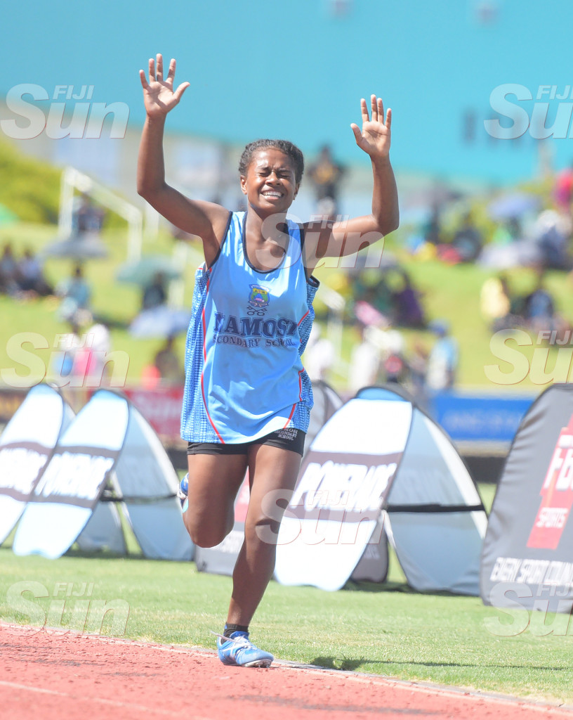 Koleta Lebakaumata of Namosi Secondary School   celebrates senior-girls 800 meters final win at ANZ Stadium on 28, 2020. Photo: Ronald Kumar.