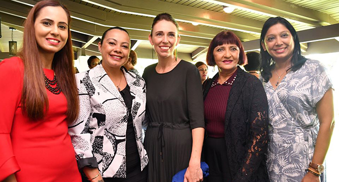 New Zealand Prime Minister Jacinda Ardern with women leaders from various sectors.  Photo: DEPTFO News